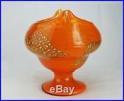 Daum Nancy Grande Coupe Vase en Verre Poudré Inclusions d'Or Art Déco Signé