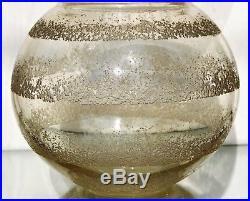Daum Nancy Gros Vase Boule en Verre épais Fumé Gravé à l'acide Art Déco Signé