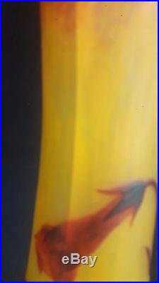 Daum Nancy, Tres Grand Vase En Pate De Verre Epoque 1900 Hauteur 52 CM