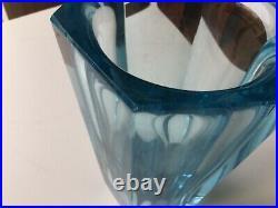 Daum Nancy, vase cristal bleu turquoise art deco, rare