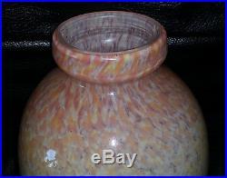 Delatte Nancy Important Vase Art Deco Avec Inclusions De Pailletes D'argent