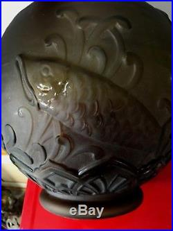 ENORME VASE POISSONS signée LORRAIN art déco french glass no lalique daum