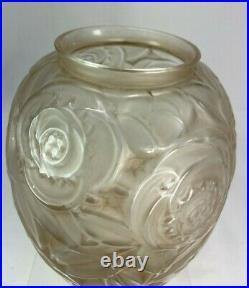 Elegant Vase Art Deco Signe Arvers Verre Patine Andre Delatte 1925 Parfait Etat