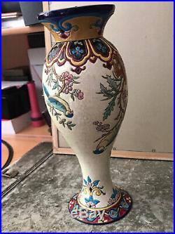 Émaux De Longwy Vase A Décor Floral et Oiseaux 1930 Art Déco Parfait État