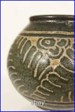 Emile Lenoble Vase art déco en grès décor aux feuilles circa 1930