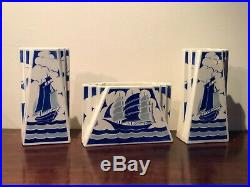 Ensemble Vases & Jardiniere, Faience Luneville Kg, Art Deco, Bateau