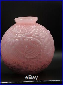 Exceptionnel Vase Boule En Verre Presse Moule Art Deco D. L. G Pierre D Avesn
