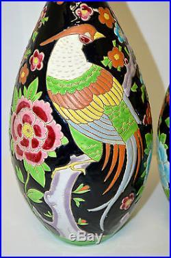 Exceptionnelle Paire Vases Boch La Louviere Oiseaux Exotiques Art Deco Keramis