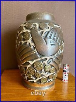 Frères MOUGIN vase pigeons en grès émaillé de Geo Condé art déco Nancy