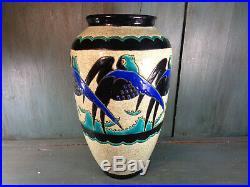GRAND RARE vase Art Deco Keramis Boch La Louvière Charles Catteau hirondelles