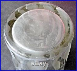 GROS VASE art deco travail acide 29cm-3,8kg-daum-sabino-schneider-luce-cocteau