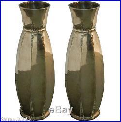 Galia, 1930 paire de vase époque art-deco en métal argenté