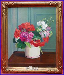 Georges Alfred Pavis Tableau Nature Morte Bouquet Fleurs Vase Rose Art Deco