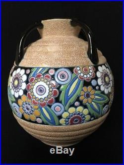 Grand VASE BOULE Ancien ART DECO Faïence IMPÉRIAL AMPHORA CZECHOSLOVAKIA Floral