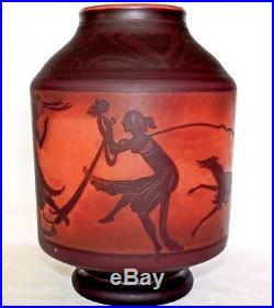 Grand Vase Art Deco Aux Danseuses Signe Georges De Feure Et Daum