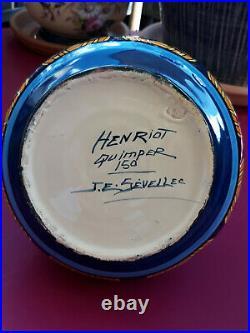 Grand Vase Boule, Henriot Quimper, signé J. E. SEVELLEC, Art-Déco 1920-1930