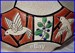 Grand Vase En Emaux De Longwy Art Deco Avec Colombes Blanches Stulisees