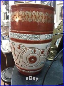 Grand Vase Faience Art Nouveau Deco 3x Signe Galle Rare Cache Pot