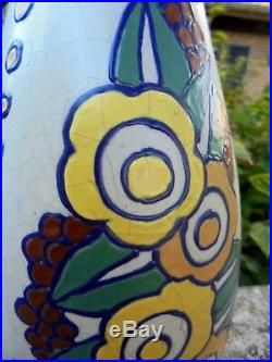 Grand Vase Gres Art Deco Signé C L'hoir De Bie Ecole Charles Catteau D25936