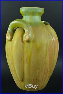 Grand Vase Ovoïde Irisé art déco grès émaux émail Verts tendre Gilbert MÉTÉNIER