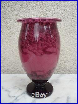 Grand Vase Pate De Verre Art Deco Nouveau Andre Delatte Nancy. No Schneider