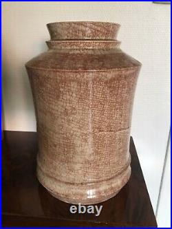 Grand Vase art déco céramique Marcel Guillard Etling Paris France 1930 H33 Cm