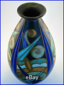 Grand Vase faïence fine FRERES BOCH CHARLES CATTEAU KERAMIS D1262 ART DECO 1929
