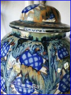 Grand Vase ou pot couvert ancien Art Déco De Sevres
