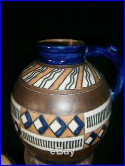 Grand vase Art Deco, HB Quimper Odetta, grès polychrome, motif géométrique