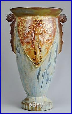 Grand vase Art Deco grès Femme nue art nouveau stoneware Roger Guerin Belgium