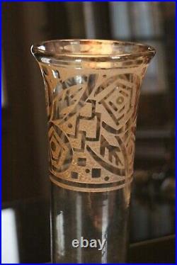 Grand vase Art déco signé Daum Nancy à la Croix de Lorraine France