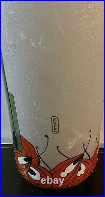 Grand vase LEUNE verre émaillé Art Déco Nouveau dlg Legras Daum Gallé 50 cm