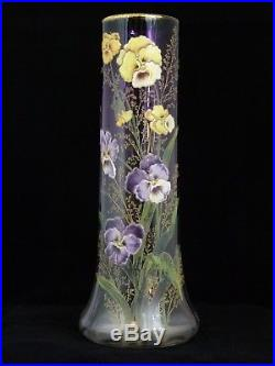 Grand vase Montjoye Legras, pensées émaillées