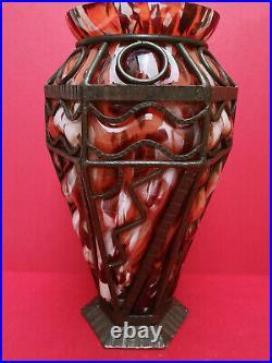 Grand vase art deco cerclé métal Lorrain ou Daum Nancy ou Majorelle H 35