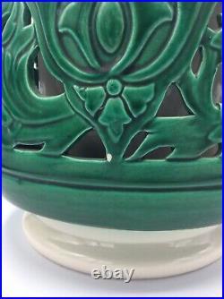 Grand vase en faïence ajourée de Sainte Radegonde signé Gustave Asch Art Déco