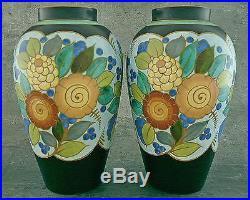 Grande Paire Vases Ventrus Anciens Charles Catteau Art Deco Keramis Boch Vase