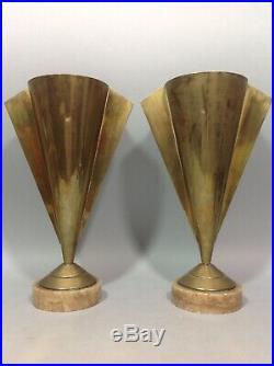 Grande paire VASES à ailettes Antique Cuivre Piédouche ART DÉCO Dinanderie