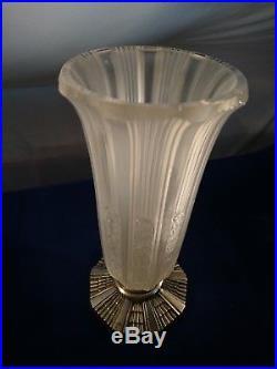 Grande vase en verre d'art deco de Hettier et Vincent