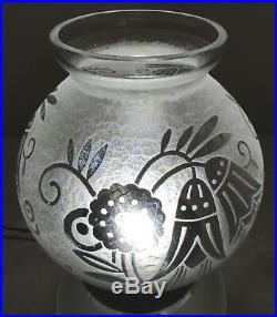Gros VASE Boule Lorrain France Art Déco verre gravé acide Era DAUM, D' Avesn
