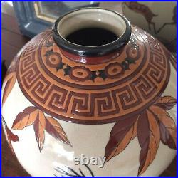 Gros Vase Art Déco En Céramique Craquelé DLG (Chevalier Catteau)
