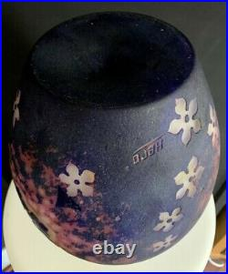 HERO Stefan Hrdina vase art deco gravé à l'acide vers 1922-Daum, gallé, muller