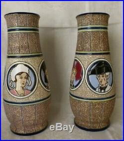 Imperial Amphora Vases Ceramique Emaux E. Laget 1930 Art Deco Coiffes Regionnales