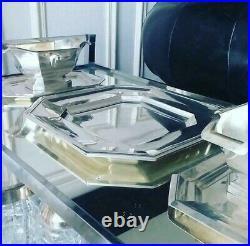 Important Surtout Table Art Déco Argent 1930 + Vase Christofle Luc Lanel