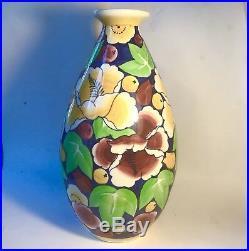 Important Vase Art Deco Hibiscus Boch Keramis La Louviére 33 Cm Authentique