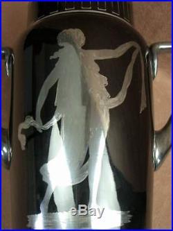 Important Vase Art Deco Verre Noir Decor De Femme Signe Hem Michel Herman