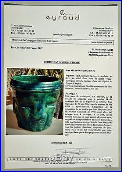 Important Vase Jean MAYODON Cache-pot Sèvres en Céramique émaillée Art Déco