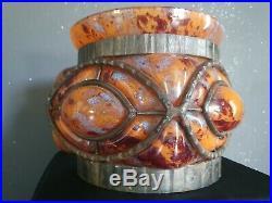 Important vase art-déco DAUM MAJORELLE pâte de verre et fer forgé martelé