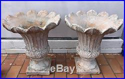 Importante paire de vases Médicis style Art Nouveau ton pierre a reflets brique