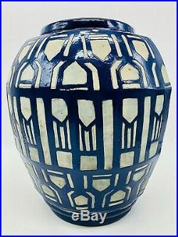 Imposant Vase Art Deco Malicorne Sarthe Marc Roger Francois 1930 Xxeme