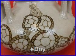 Imposant Vase Art Déco en Grès Email Blanc Craquelé & Dessin. Boulogne / Seine